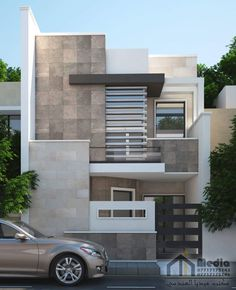 33 Lovely Modern Villa Exterior Design Ideas Luxury Look - SearcHomee Bungalow House Design, House Front Design, Small House Design, Cool House Designs, Front Elevation Designs, House Elevation, Modern Villa Design, 3d Home, Modern Tiny House