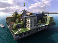 Maquette d'un projet de ville flottante de la fondation Seasteading.