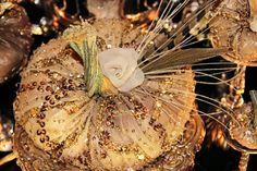 Velvet Pumpkins SET of 7 Bridal Baby Shower Gold by OrnateSplendor