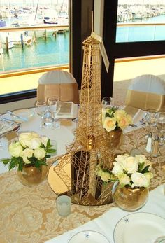 Eiffel Tower Gold Color 20 Inch Wire Metal Replica/Centerpiece