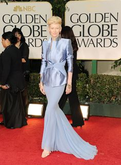 Tilda Swinton in Haider Ackermann, 2012 - See our special edition best dressed list for the 2012 Golden Globe Awards.