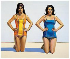 "Wayne Thiebaud, ""Two Kneeling Figures,"" 1966, oil on canvas, 60 x 72 inches"