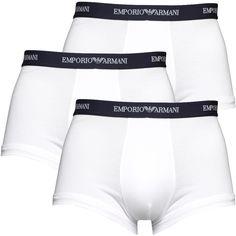 Emporio Armani Mens Three Pack Trunks White/Navy Emporio Armani close fit boxer trunks. http://www.MightGet.com/february-2017-2/emporio-armani-mens-three-pack-trunks-white-navy.asp