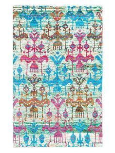 Multicolored Hand-Knotted Silk Rug by ECARPETGALLERY at Gilt