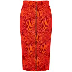 House Of Holland Stretch Pencil Skirt (€63) ❤ liked on Polyvore featuring skirts, red, stretchy skirt, front zip skirt, stretchy pencil skirt, print skirt and print pencil skirt