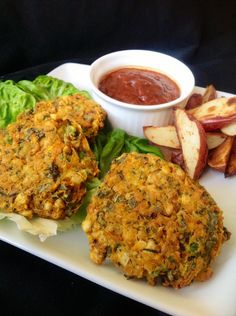 Healthy, oil-free veggie burgers from Plants-Rule. They're made with chickpeas and green peas, and they go great with homemade ketchup or fresh avocado!