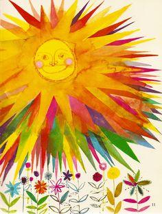 Items similar to SMILING SUN and Spring Flowers, 1966 Brian Wildsmith illustration, Sun nursery print, Spring decor on Etsy Good Morning Sunshine, My Sunshine, Sunday Morning, Vintage Children's Books, Vintage Kids, Book Page Art, Sun Moon Stars, Sun Designs, Sun Art