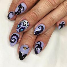 Disney Inspired Nails, Disney Nails, Octopus Nails, Cute Nails, Pretty Nails, Maleficent Nails, Ursula Disney, Bookmarks Kids, Top Nail