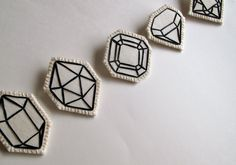 Geometric brooch hand embroidered faux gem by AnAstridEndeavor