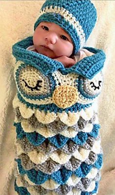 Owl Hat and Cocoon Set is a Crochet Pattern and so simply adorable. Perfect for all those owl and nature lovers.