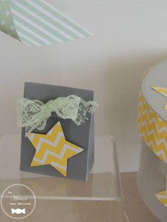 Chevrons, Table Lamp, Mini, Home Decor, Gray, Lace Ribbon, Windmill, Yellow, Home