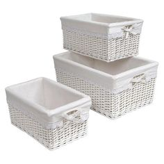 Keep this 3-piece rattan wicker basket set in your nursery, laundry, bathroom or bedroom to store clothes, socks, towels and other stuff. They come in 3 nesting sizes for compact storage. All the rectangular wicker baskets have removable liners made of cotton polyester blend fabric. Just remove the liners from the basket to transfer soiled clothes right into the washer. The liners are also machine washable.