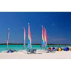 Sailing rentals Beach Castaway Cay Bahamas Caribbean Canvas Art - Kymri Wilt DanitaDelimont (35 x 24)