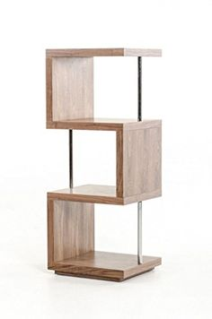 Limari Home The Sammy Collection Modern MDF Wood And Stainless Steel Metal 3 Shelf Storage Unit Contemporary Bookcase, Walnut