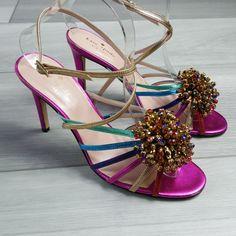a1537310c4a7 Kate Spade Isabella Sandal Heels Size 8.5 Leather Fuchsia Rhinestone  Strappy #katespadenewyork #Strappy #Party