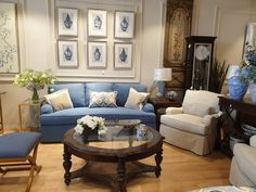 Classic Decor | interior design | saudi furniture store | grandfather clock | blue living room | Classic use of blue | classic use of blue furniture | bold furniture | timeless  | wall framing    الكنب | الاثاث في السعودية  | الاثات الزرقة | تنسيق الصالة | كلاسيك ديكور | لوح