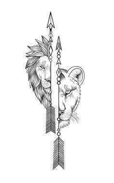 Pair Tattoos, Body Art Tattoos, Sleeve Tattoos, Art Drawings Sketches Simple, Tattoo Sketches, Tattoo Drawings, Tattoo Outline Drawing, Simple Lion Tattoo, Simple Lion Drawing