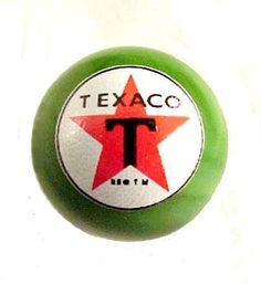 Great Stocking Stuffer! Texaco Star Gas Gasoline Green Glass Marble. Nice Advertising Logo Collectible.