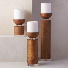Found it at Wayfair - Pillar Wood Candle Holder Hurricane Candle Holders, Pillar Candle Holders, Candle Holder Set, Candle Lanterns, Candlestick Holders, Pillar Candles, Candlesticks, Candleholders, Candels