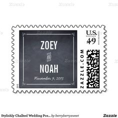 Stylishly Chalked Wedding Postage Stamp Stamps