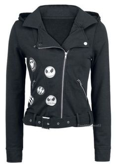 You like Jack Skellington as much as we like him? Then check out the wicked awesome bikers tyle girls hooded zip of The Nightmare Before Christmas. The black hooded zip in biker style i a real eye-catcher. Emo Outfits, Cute Outfits, Fashion Outfits, The Nightmare Before Christmas, Jack The Pumpkin King, Moda Vintage, Culottes, Biker Style, Jack Skellington
