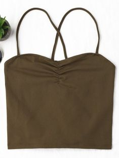 40043f06a6 Lace Up Cropped Tank Top  Tank  Tops  Fashion  Womens  Women  Coffee