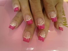 French tip nails. French Acrylic Nails, French Manicure Nails, French Tip Nails, French Tips, French Nail Designs, Cute Nail Designs, Pink Nail Art, Pink Nails, Fancy Nails