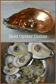 Make up a batch of these gold oyster dishes to use for storing earrings, small jewelry and many more items.