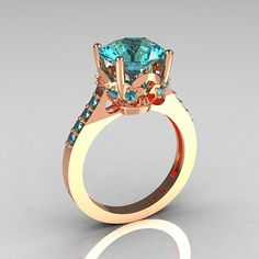 French Bridal 14K Pink Gold 30 Carat Aquamarine by artmasters, $849.00