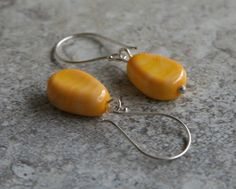 Yellow Glass Bead Earrings.  Handmade.  by AussieJulesOnline, $35.00