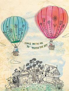 hot air balloons - line drawing