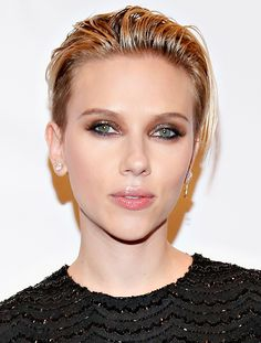 Scarlett Johansson kills it with slicked-back hair, shimmery eyes, and a glossy pout