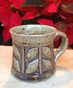 Leaf mug floral mug carved cup wood fired mug by KTJohnstonPottery, $26.00