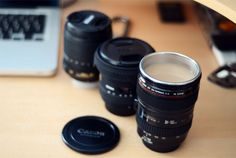 Coffee mugs made from old camera lenses. Starting from $9.40