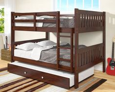 Get the most out of your space with our Full Size Bunk Beds in a dark cappuccino finish. This bunk bed features solid pinewood construction with an underbed twin trundle. Materials: Sturdy solid Pinew