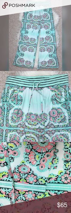 """NWT Nanette Lepore swim pants drawstring seafoam New with tags Nanette Lepore Swim drawstring pants with elastic waist. Swimsuit coverup. Soft and slinky material. Self: 90% nylon 10% elastane. Contrast: 72% nylon 28% Lycra elastane. Pink, seafoam green, turquoise, yellow, and black.  Approximate measurements: 🌹Waist: 30"""" 🌹Front Rise: 11.5"""" 🌹Inseam: 29"""" Nanette Lepore Swim Coverups"""