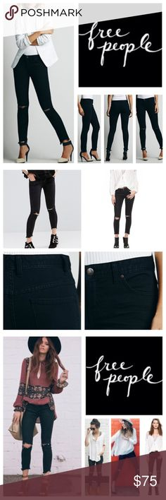 """Free People Destroyed Ankle Skinny Jeans Distressed skinny crop jeans with destroyed tears at each knee. 5-pocket style. Zipper and button fly closure. Bottom hems are raw edge and lightly frayed.                                            Mfg. Color; Stark Black: 71% Cotton 28% Polyester 1% Spandex Machine Wash Cold  Approx measurements  Waist: 16-1/2"""" Rise: 9-1/2"""" Inseam: 26-1/2"""" Free People Jeans Ankle & Cropped"""