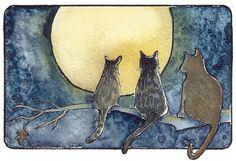Your Friday Art Cat Gets Moony The Friday Art Cat #katzenworld art ねこ cat drawing cats drawing full moon ネコ katze katzen Sleeping Bear Dunes watercolor