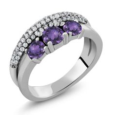 Gem Stone King - 5.19 Ct Round Purple Amethyst 925 Sterling Silver Ring (MGZ-1145-RD-AM-PUR-AM-PUR-CZ-W-SS), $29.99 (https://gemstoneking.com/5-19-ct-round-purple-amethyst-925-sterling-silver-ring-mgz-1145-rd-am-pur-am-pur-cz-w-ss/)