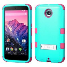 MYBAT TUFF Hybrid Google Nexus 6 Case - Teal Green/Electric Pink
