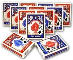 Bicycle Poker Standard Size Jumbo Face Index Playing Cards Blue and RED Color- ONE Dozen (12 Pack) Bicycle http://www.amazon.com/dp/B00BMBN4HW/ref=cm_sw_r_pi_dp_yOLEub02ME55P $29.99