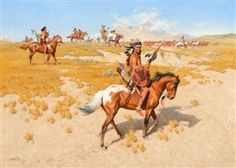 Artwork by Frank McCarthy, Guardians of the Horse Herd, Made of oil on canvas kp