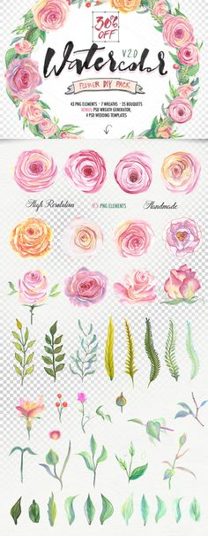 Watercolor flower DIY Pack2 (30%OFF) by Blessed Print on Creative Market