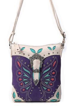 Western Cowgirl Butterfly Patch Embroidery Deco Messenger Bag #GetEverythingElse #MessengerCrossBody