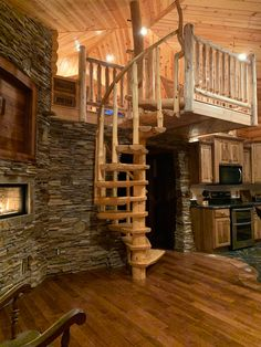 Rustic Pine Spiral Staircase - Custom Made to order! - - Rustic Pine Spiral Staircase - Custom Made to order! Rustic Staircase, Staircase Design, Staircase Ideas, Floating Staircase, Silo House, How To Build A Log Cabin, Log Cabin Homes, Log Cabin Bedrooms, Tiny Log Cabins