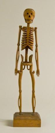 """Rothlof - Carved Skeleton, 1906  17.87""""  Carved And Varnished Wood"""