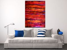 ARTFINDER: Abstract Spectra III by Nestor Toro - Vibrant piece with bold color blending, Iridescent paint drips and big palette knife strokes. This painting conveys motion, energy as well as lots of light a...