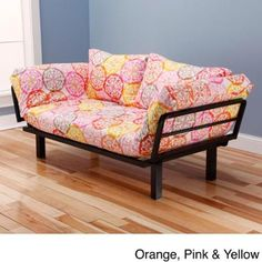 Somette Eli Spacely Multi-Flex Daybed/Lounger with Mattress and Pilllows Multi-Flex Lounger with Orange,Pink