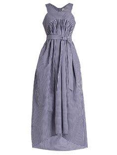 TEIJA V-neck sleeveless gingham dress