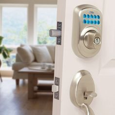 Forget your key? Unlock your front door with a four-digit number that you simply punch into an electronic keypad. This electronic lock is easy to install; you only need a screwdriver.  Photo courtesy of Schlage.